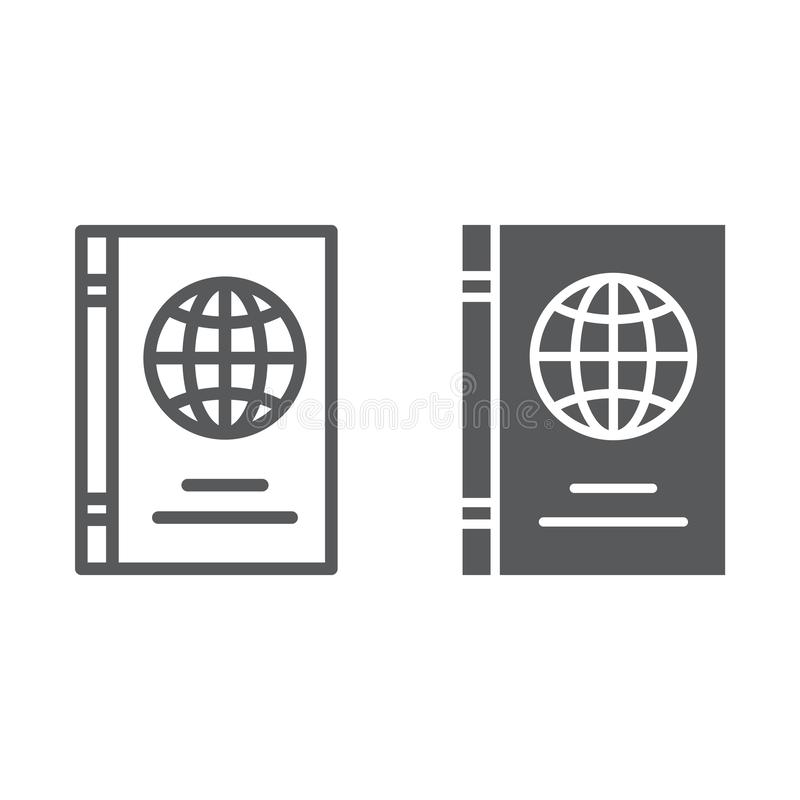 Paspoortlijn en glyph pictogram, identificatie en reis, het teken van het identiteitsdocument, vectorafbeeldingen, een lineair pa vector illustratie