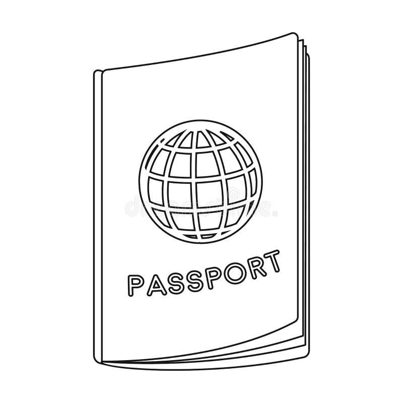 Paspoortpictogram in overzichtsstijl op witte achtergrond wordt geïsoleerd die Rust en reissymbool stock illustratie