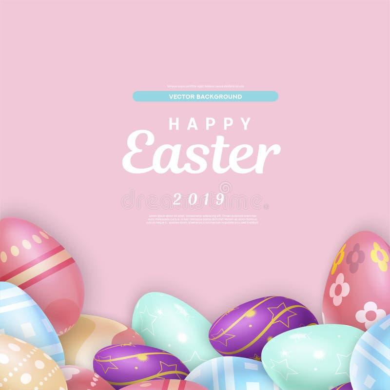 Pasqua che scrive sopra il mucchio delle uova illustrazione di stock