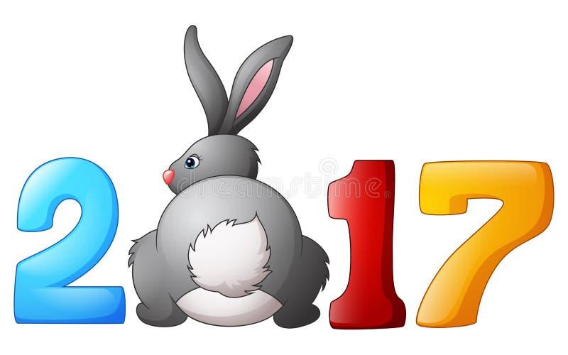 Pasqua 2017 con il coniglietto di pasqua illustrazione vettoriale