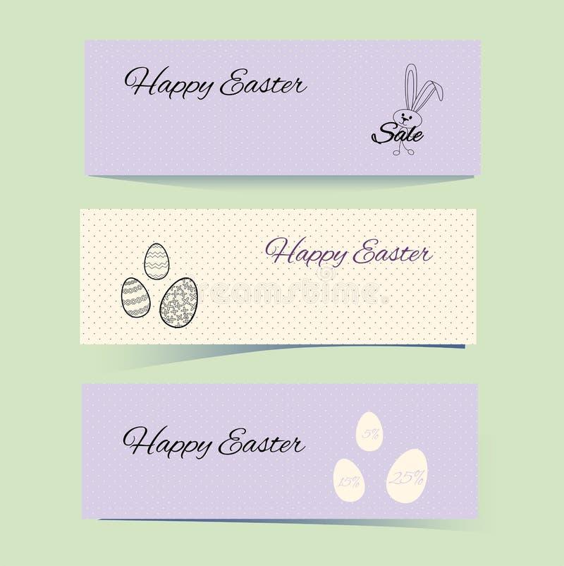 Pasqua delicata copre di coniglio e di modelli punteggiati Lepri, uova e punti Fondo lilla e beige Imposti l'illustrazione di vet illustrazione vettoriale