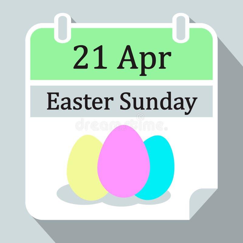 Pasqua domenica calendario murale 2019 icona di vettore del 21 aprile con le uova di Pasqua gialle e blu rosa, stile piano illustrazione di stock