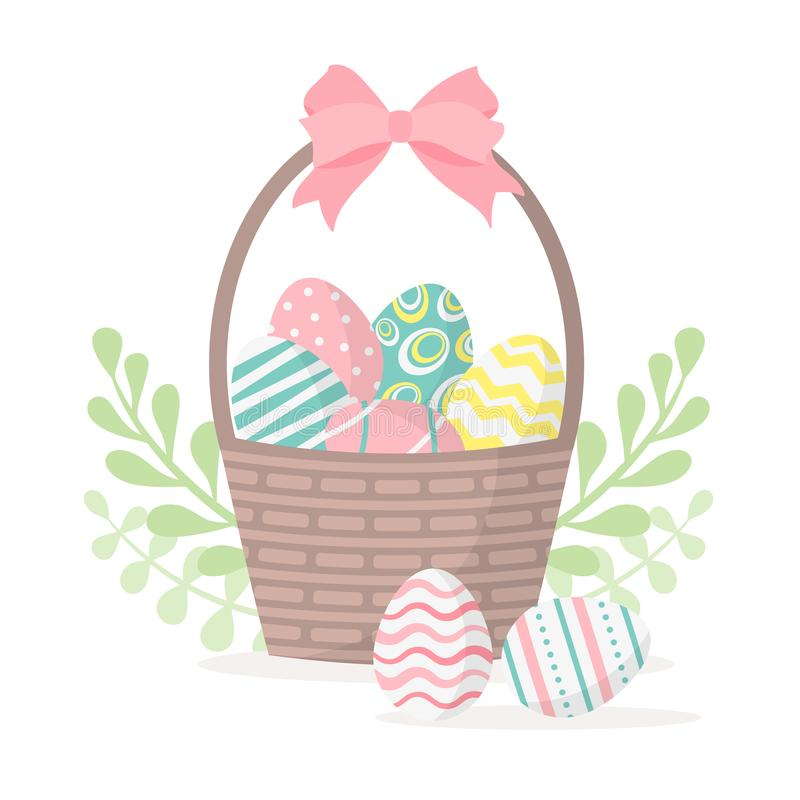 Pasqua felice Canestro con le uova di Pasqua isolate su un fondo bianco Illustrazione di vettore royalty illustrazione gratis