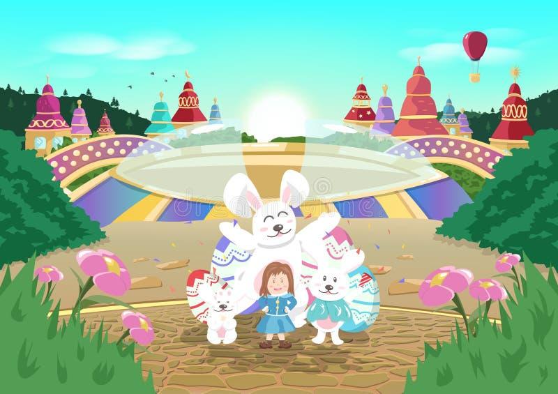 Pasqua felice, carnevale, Sun che aumenta, fumetto della città di fantasia di storia di racconto, partito di celebrazione in mani illustrazione vettoriale