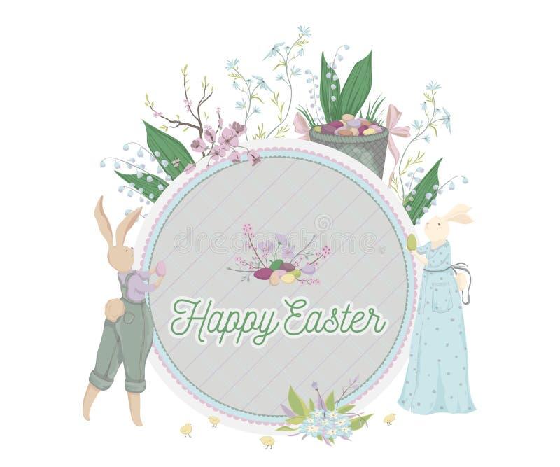 Pasqua felice Cartolina d'auguri d'annata con il coniglietto, uova, fiori, canestro, albero della molla, pulcini Modello di proge illustrazione vettoriale