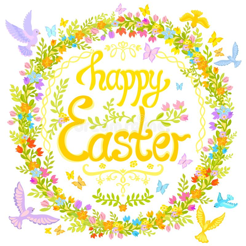 Pasqua felice - cerchio decorato con i fiori, piccoli uccelli immagine stock