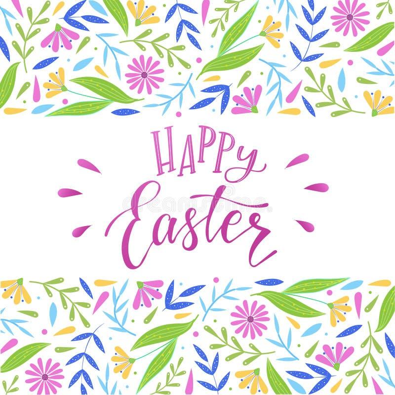 Pasqua felice che segna citazione ed i confini con lettere floreali decorativi illustrazione vettoriale