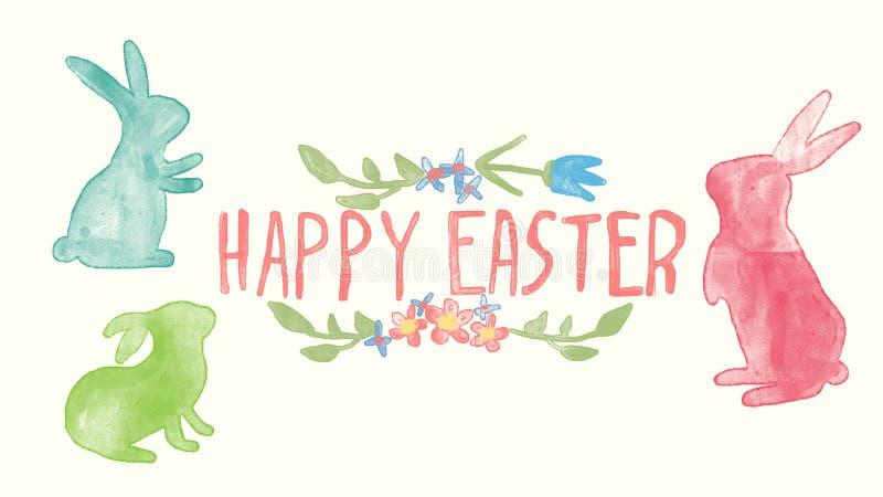 Pasqua felice che segna con il fondo dell'acquerello, la progettazione di Pasqua con il coniglietto sveglio ed il testo fotografia stock
