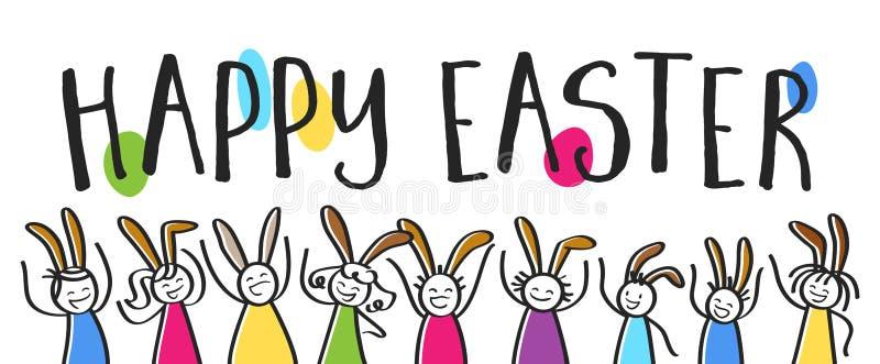 Pasqua felice che segna, gente variopinta con le orecchie del coniglietto, insegna orizzontale del bastone illustrazione di stock