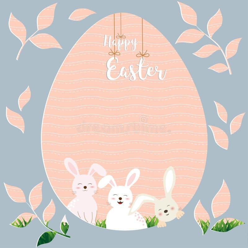 Pasqua felice con i conigli svegli sul fondo di forma dell'uovo per la festa, celebra la cartolina d'auguri del partito, dell'inv royalty illustrazione gratis