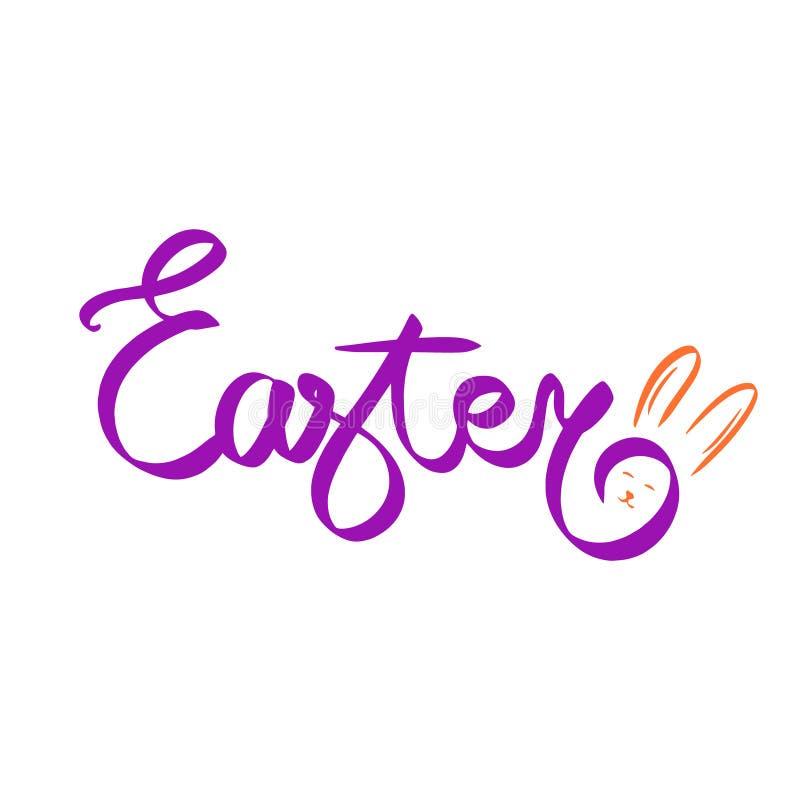 Pasqua felice disegnata a mano Coniglietto del coniglio di Pasqua isolato su fondo bianco Carattere sveglio e divertente dei coni royalty illustrazione gratis