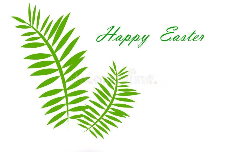 Pasqua felice e palma su un fondo bianco illustrazione vettoriale