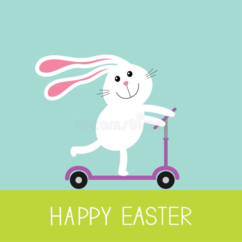 Pasqua felice Lepre sveglia del coniglio del fumetto che guida un motorino di scossa Erba e cielo Priorità bassa del bambino Prog illustrazione di stock