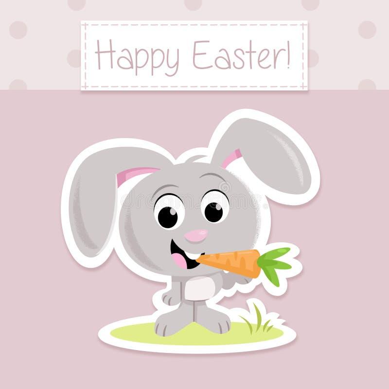Pasqua felice! - Piccola carota adorabile della tenuta del coniglietto di pasqua illustrazione vettoriale