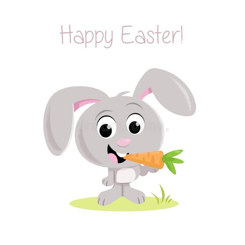 Pasqua felice! - Piccoli coniglietto e carota di pasqua adorabili illustrazione di stock