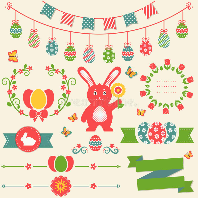 Pasqua felice! Retro elementi di progettazione Insieme di vettore illustrazione vettoriale