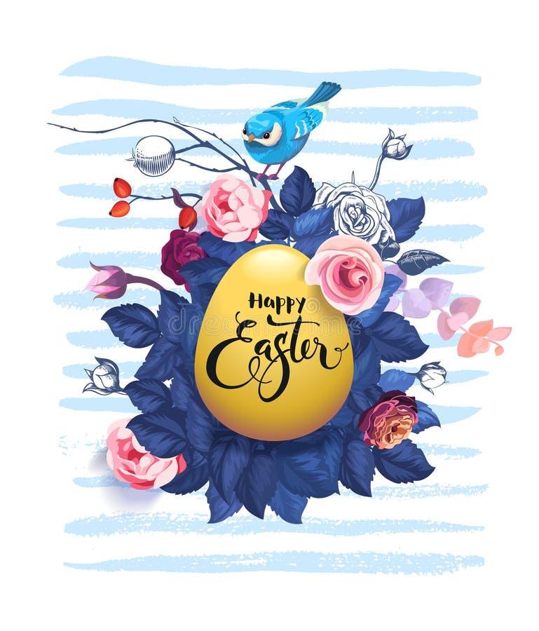 Pasqua felice scritta a mano con la fonte calligrafica sull'uovo decorato contro l'arbusto con le rose selvatiche, uccello grazio illustrazione di stock
