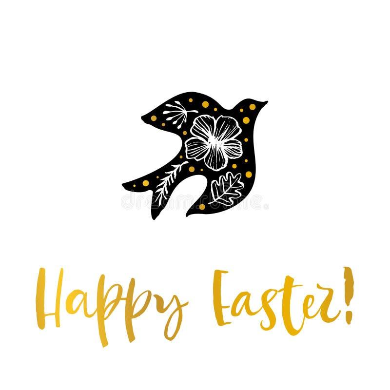Pasqua felice Uccello del fiore Cartolina d'auguri dell'oro di calligrafia Mano illustrazione vettoriale