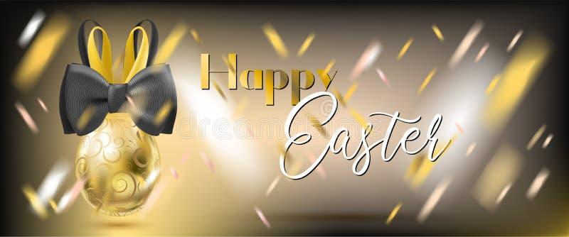 Pasqua Gala Golden Egg con Bunny Bow illustrazione vettoriale