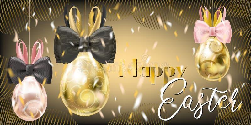 Pasqua Gala Golden Eggs con Bunny Bow royalty illustrazione gratis