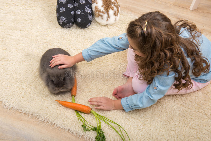 Pasqua - gli amori della bambina vivono coniglio immagini stock