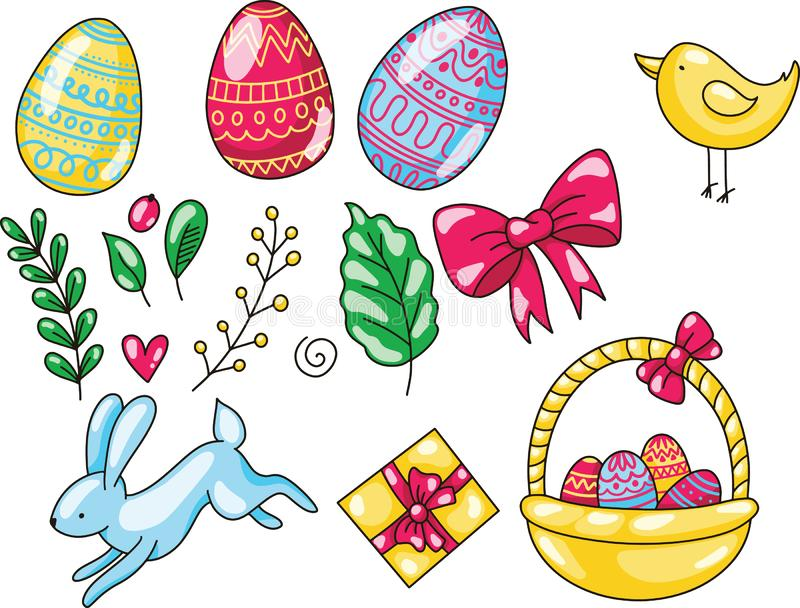 Pasqua ha messo dell'illustrazione disegnata a mano del fumetto Il modello felice di Pasqua con le uova lascia il coniglio ed il  illustrazione di stock