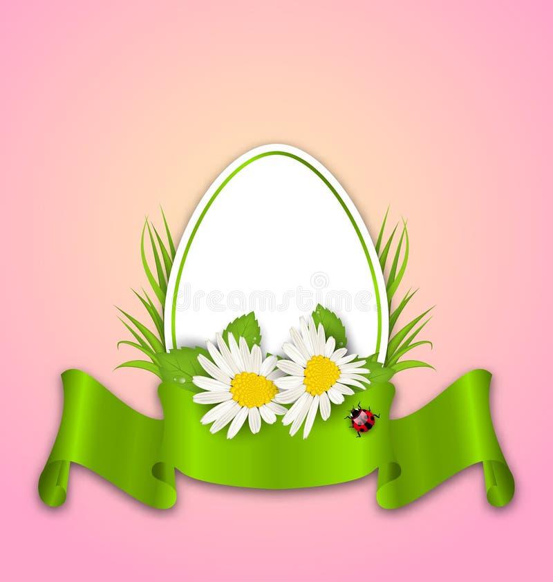 Pasqua incarta l'uovo con i fiori margherita, erba, farfalla e nastro royalty illustrazione gratis