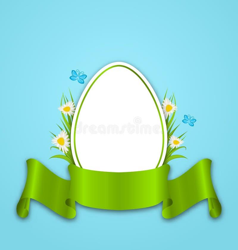 Pasqua incarta l'uovo con i fiori margherita, erba, farfalla e nastro illustrazione di stock