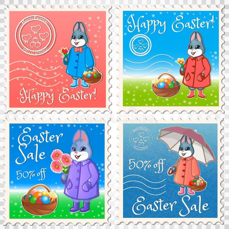 Pasqua segna l'insieme della posta royalty illustrazione gratis