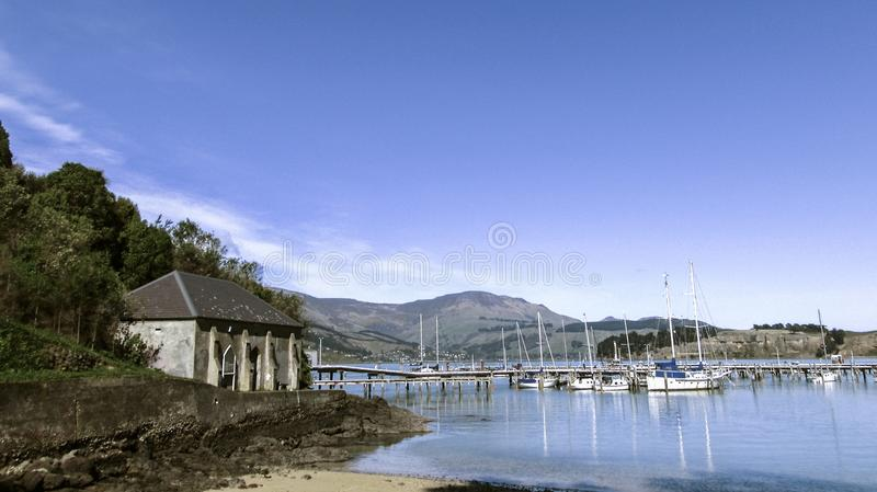 Bay Beach Water Boats Yachts Sea Sand royalty free stock photos
