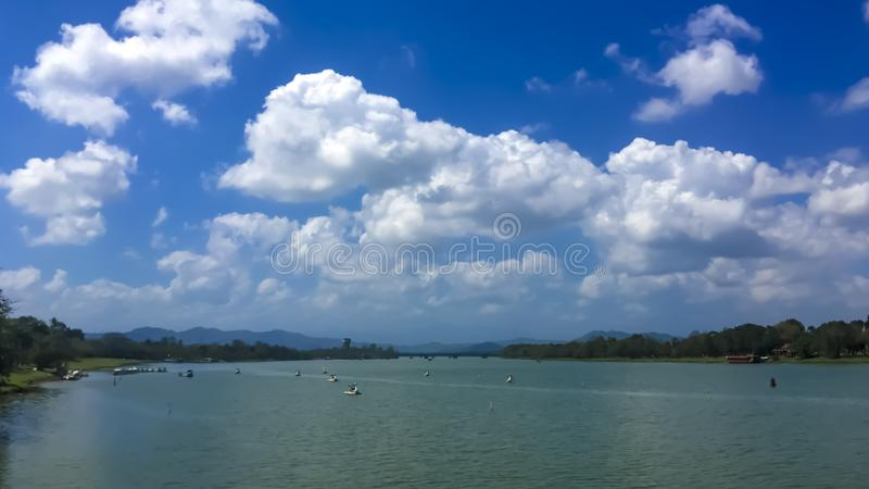 The clear lake blue sky royalty free stock photo