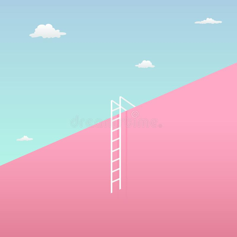 Pass the challenge to reach the goal visual concept with minimalist art design. high giant wall towards the sky and short ladder. Vector illustration. eps 10 royalty free illustration