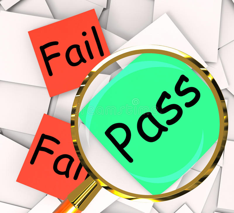 Pass Fail Post-It Papers Mean Certified Or Unsatisfactory vector illustration
