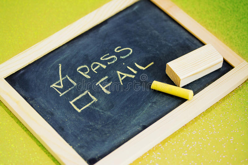Download Pass Or Fail Writing On Blackboard Stock Photo - Image: 29090056