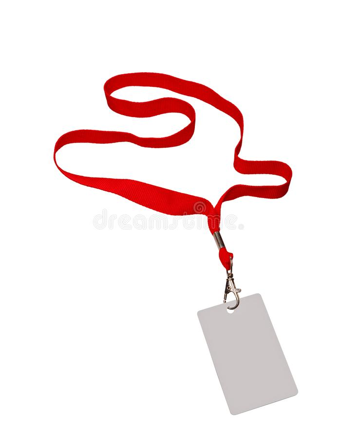 Pass grey color on red ribbon. Isolated in white stock photos