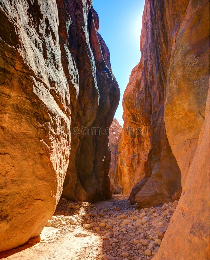 Pass between high walls in Buckskin Gulch canyon, Paria Canyon-Vermilion Cliffs Wilderness, near the Utah-Arizona border, southern. Utah, United States royalty free stock photography