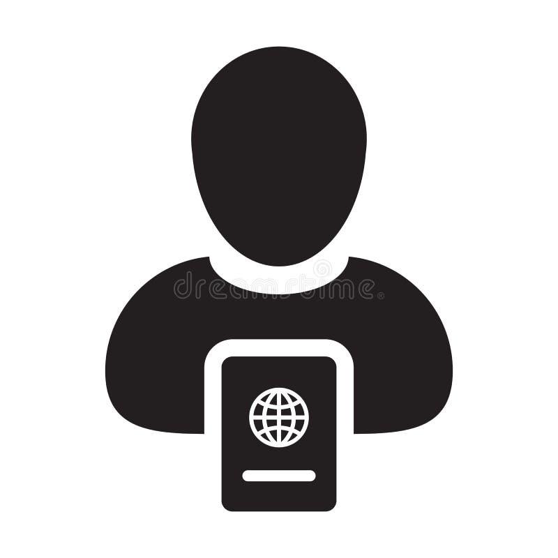 Pass-Ikonen-Vektor mit männlichem Person Profile Avatar für internationale Identität und Reise in Glyph-Piktogrammillustration Sy vektor abbildung