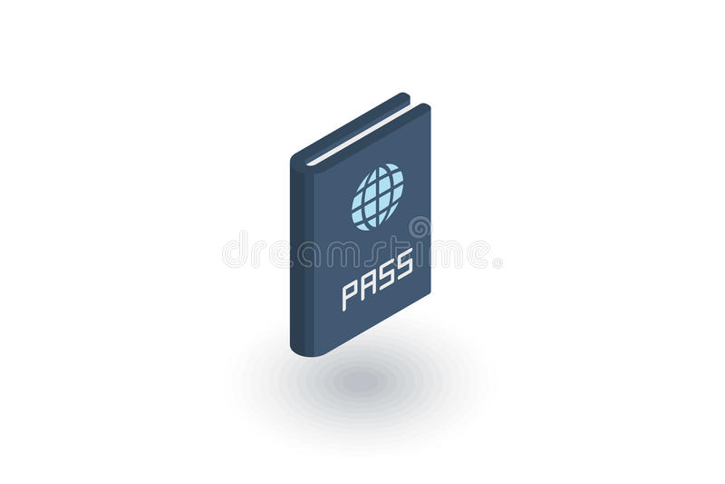 Pass, isometrische flache Ikone Identifikations-Dokuments Vektor 3d lizenzfreie abbildung