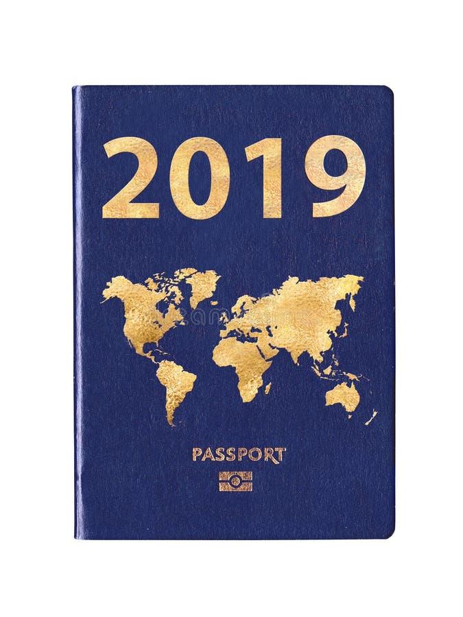 Pass 2016 med en världskarta på räkningen royaltyfria bilder