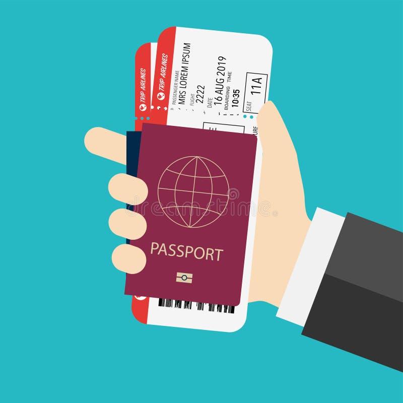 Pass med posteringen som förbereds för att stiga ombord flygplanet stock illustrationer