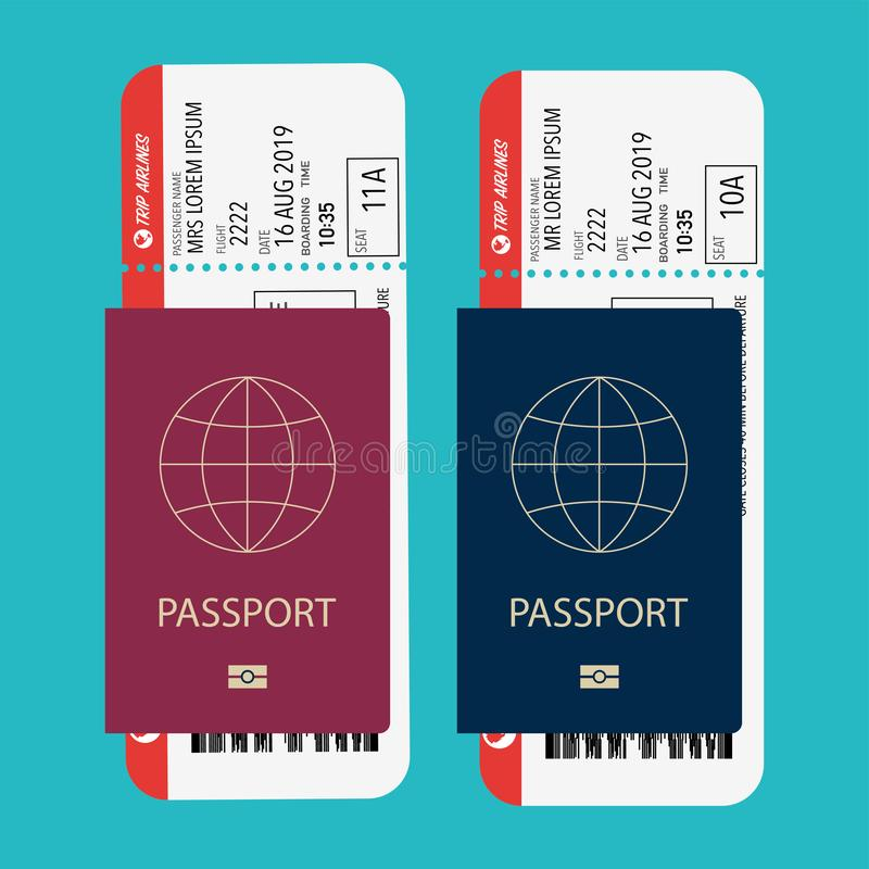 Pass mit dem Pfosten vorbereitet für verschalendes Flugzeug stock abbildung