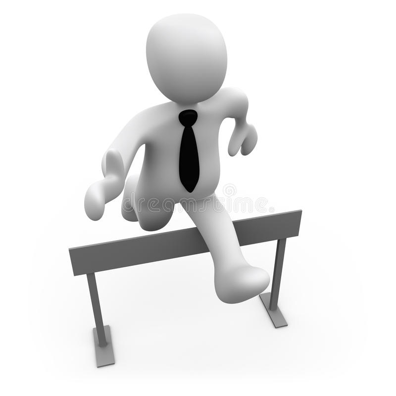 Pass The Obstacles. 3d businessman jumping over a hurdle royalty free illustration