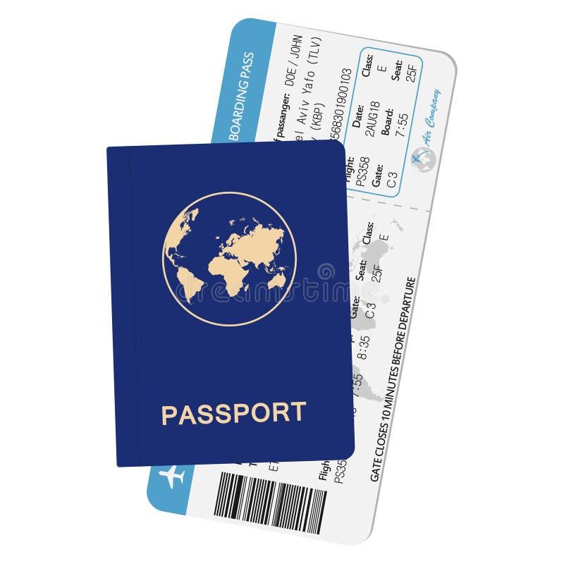 Pass- och flygbolaglogipasserande legitimationdokument med flygplanbiljetten Loppbegreppsillustration royaltyfri illustrationer