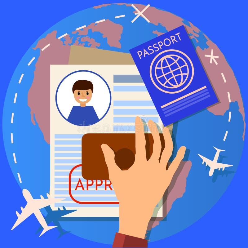 Pass oder Visumsantrag Reise-Immigrations-Stempel Arbeitserlaubnis flache Illustration des Geschäfts und des Lebensstils, stock abbildung