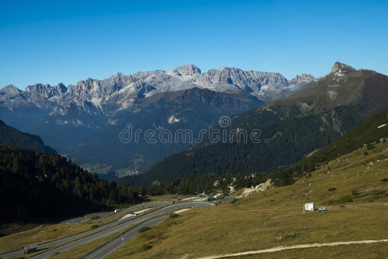 Pass Pordoi from Sass Pordoi, Italy royalty free stock photo