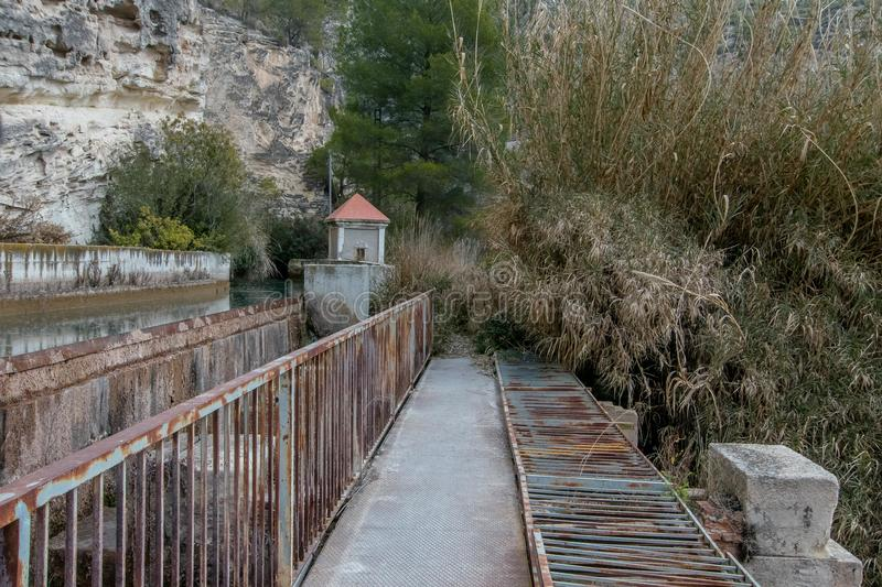 Pass by the small dam. Of the Rio Mundo in Albacete, Spain royalty free stock photo