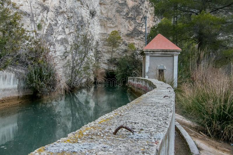 Pass by the small dam. Of the Rio Mundo in Albacete, Spain stock images