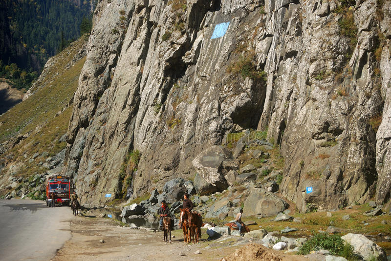 Through the pass, Sonamarg, Kashmir, India royalty free stock photos