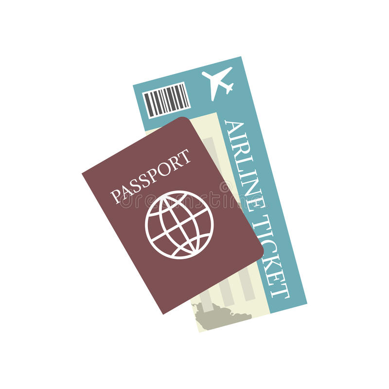 Pass- und Flugticketvektorikone Konzeptreise und -tourismus lizenzfreie abbildung