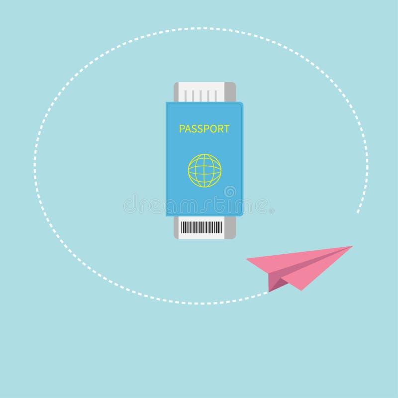 Pass- und Luftbordkarte etikettieren Ikone mit Barcode Tapezieren Sie Flugzeug Strichliniekreisbahn Hintergrund für eine Einladun vektor abbildung